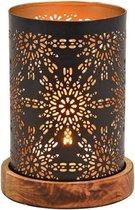 Metalen design windlicht/kaarsenhouder zwart/goud 10 x 18 cm