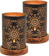 Set van 2x stuks metalen design windlicht/kaarsenhouder zwart/goud 10 x 18 cm
