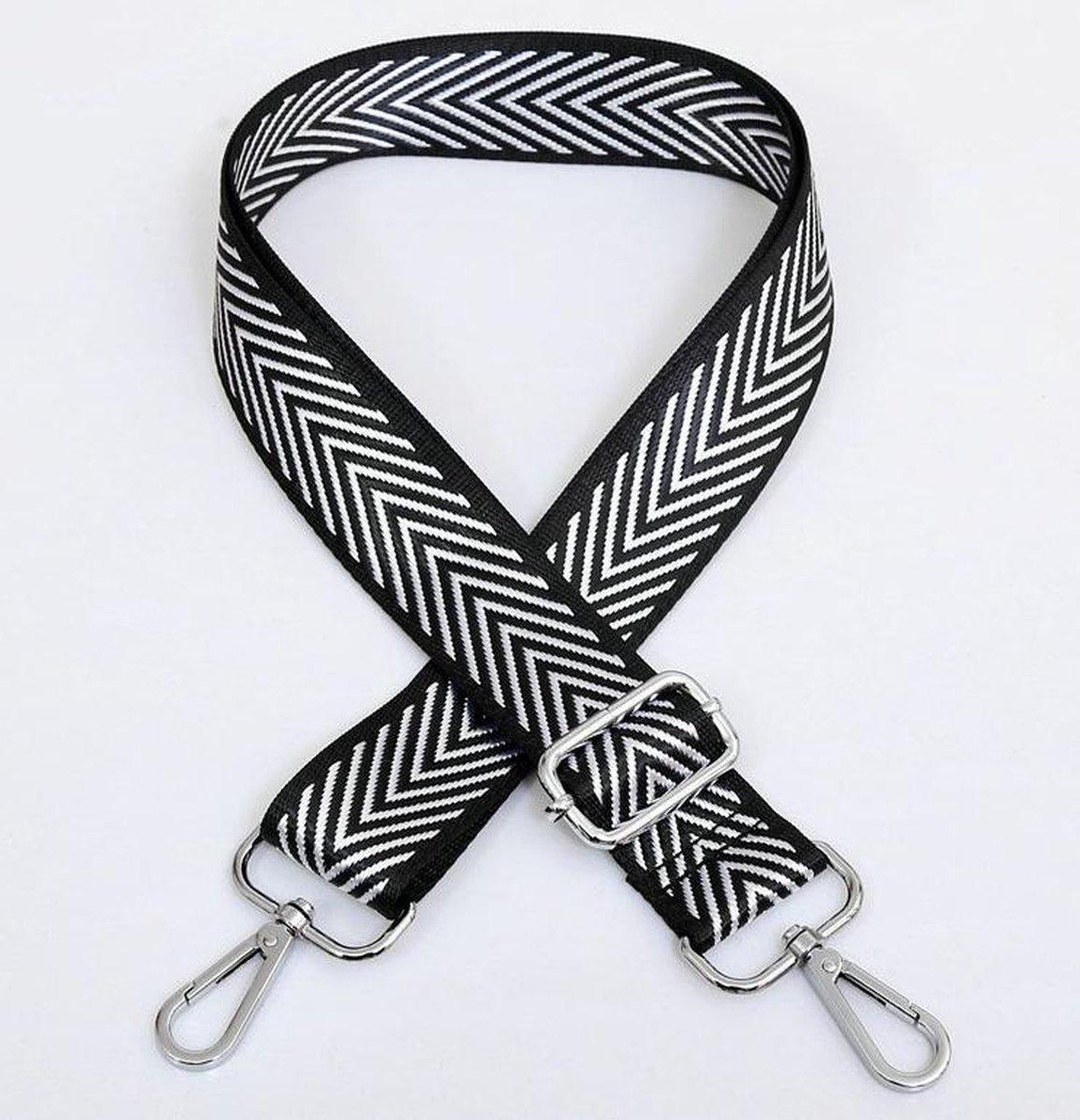Bag Strap - Bagstrap - Tassenriem - Schouderband - Verstelbaar - Zwart/Wit Zebra Print - Zilveren Ge