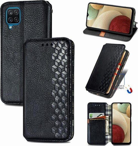 Luxe PU Lederen Wallet Case Voor Samsung Galaxy A12 - Portemonnee Book Case Flip Cover Hoesje Met Multi Stand Functie - Kaarthouder Card Case Beschermhoes Sleeve Met Pasjes Houder & Slimme Magneet Sluiting - Bookcase - Zwart