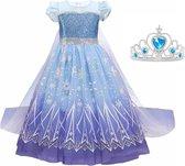 Elsa jurk blauw Classic Deluxe 116-122(130) - lange sleep + kroon Prinsessen jurk verkleedkleding verkleedjurk