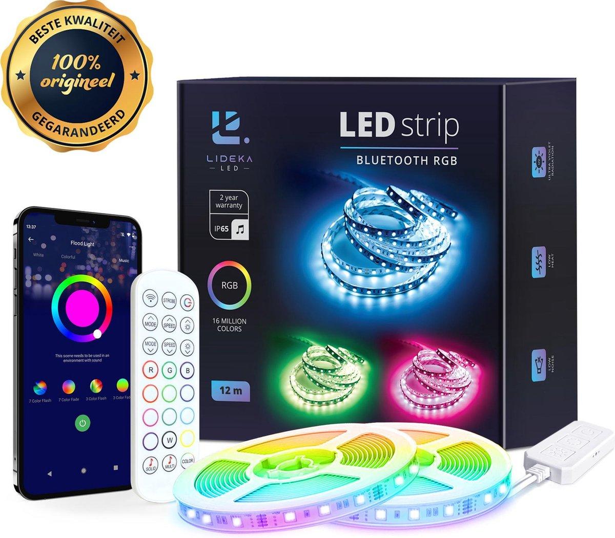 Lideka   Smart LED strip 10+2 Meter (2x6) met Afstandsbediening - Led Light Strip - RGB Licht strip