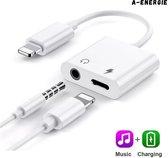 A-Energie™ - Splitter iPhone - Lightening Adapter - 2 in 1 audio lightening - Apple Splitter Audio Jack Microfoon - Audio en Opladen - Audio en Lightening 3,5 mm - wit