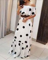 MKL - Dames lange zomerjurk - Franse Mode, - Lente/ Zomer - Elegant Vrolijke Vrouwen jurk met stippenpatroon - Vintage Lange Maxi Jurk - Zwart en wit - Maat: S/M