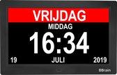 BBrain Basic - Dementieklok XL 10 inch zwart- Kalenderklok met dag, datum en tijd - Alzheimer