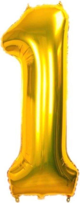 Folie Cijfer Ballon Groot |  Goud | Cijfer 1 | ± 82 cm. | Maak je feestje compleet met deze mooi ballon!