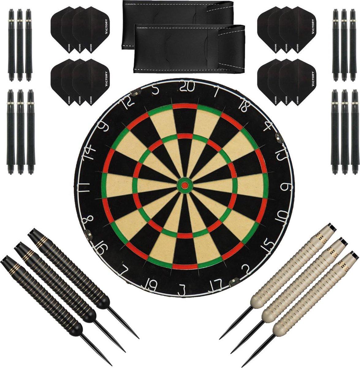 Dragon Darts complete Shark dartset - XQ-Max plain - dartbord - dart shafts - dart flights - dartpijlen 24 gram - 100% brass - 2 sets - dartpijlen - zwart-wit