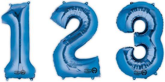 PTIT CLOWN - Blauwe aluminium cijfer ballon - Decoratie > Ballonnen