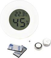 Tool Meister TM2 - Professionele hygrometer en temperatuurmeter - 2 in 1 - Digitaal - Voor buiten en binnen - Wit - Rond - Inclusief Batterij