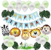 Jungle Decoratie Verjaardag versiering pakket - Babydouche Safari Blauw Groen - met dieren ballonnen en happy birthday slinger Jongen