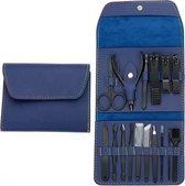 Professionele Manicure Set / Pedicure Set | 16 Delig | Opbergetui | Reisset | Nagelschaar | Nagelknipper | Nagelverzorging | Mannen en Vrouwen | Manicure set voor nagels | Pedicureset | - Bruin Zwart