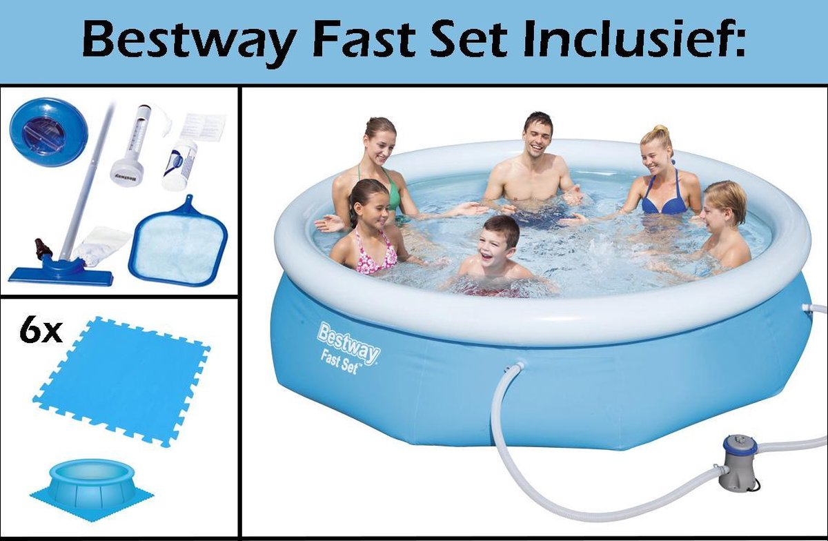 Bestway Fast-set Zwembad | Opblaas Zwembad 274 Cm | Met Filterpomp | Met Zwembadtegels | Incl. GRATIS Schoonmaak Set