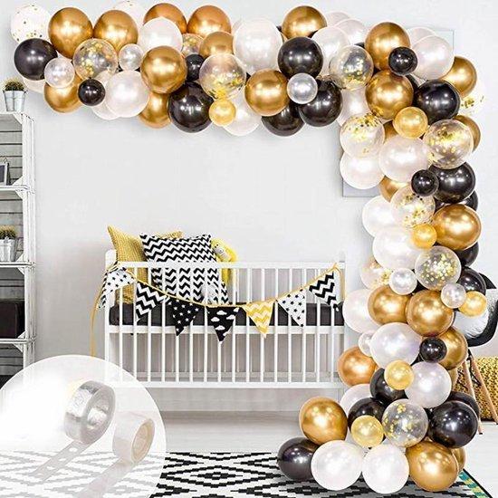 Ballonnenboog - Zwart - Goud - Wit - BIEK20 - met ophanghaakjes - Feestversiering - Partydecoratie - Ballon - 120 stuks - Verjaardag - Bruiloft - Oud en Nieuw