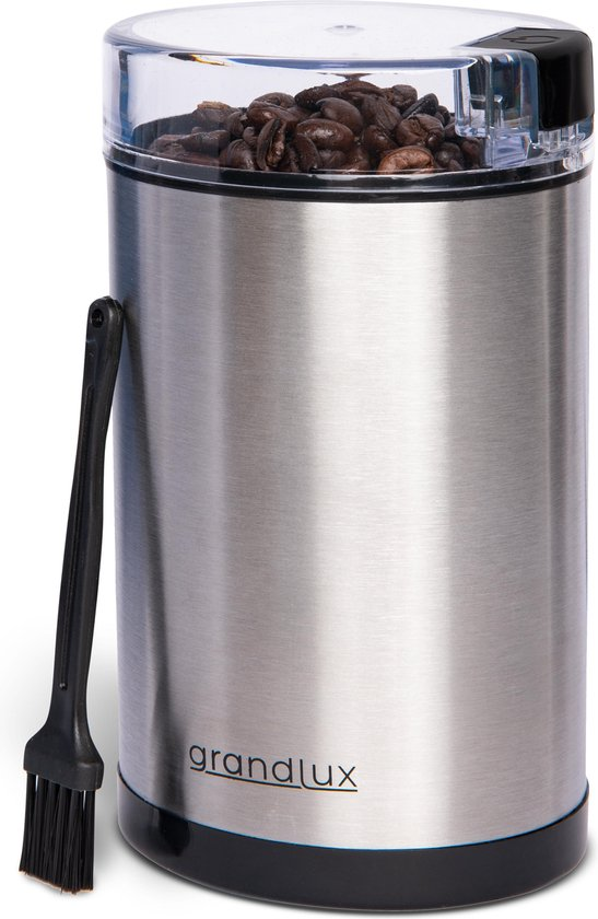 Grandlux Koffiemolen Electrisch voor Bonen - 2 Mesbladen - Roestvrijstaal - Coffee Grinder - Koffiemaler - met Schoonmaakborstel