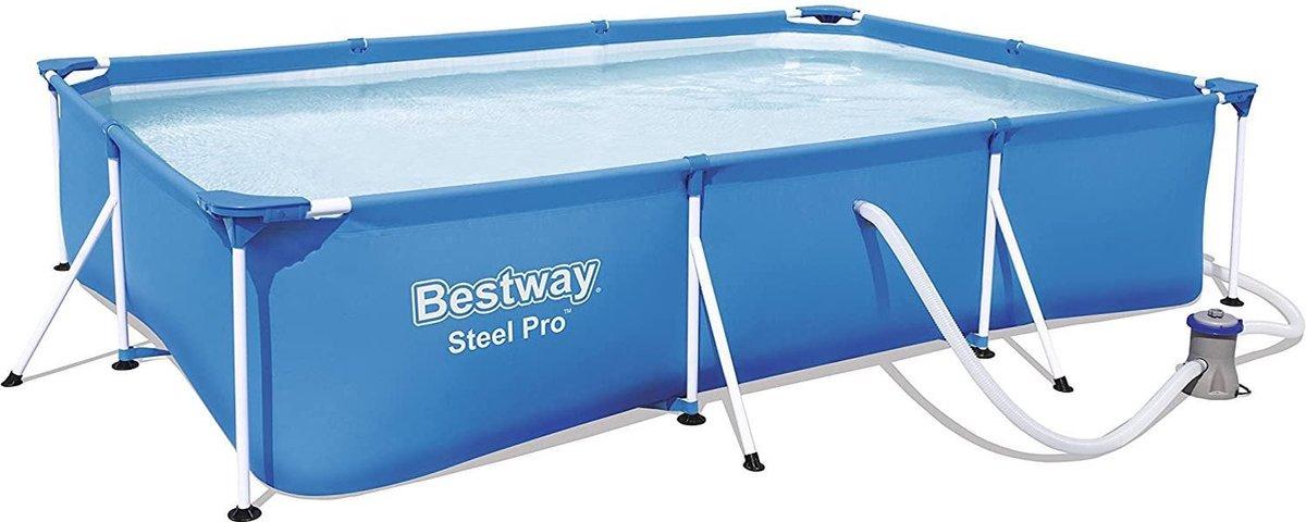 |zwembad|Frame Pool Deluxe Splash - Steel Pro, set met filterpomp, 300 x 201 x 66 cm, blauw