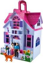 Ariko Poppenhuis Uitklapbaar - Opvouwbaar huis voor poppen - Moderne Uitstraling Barbiehuis - Inclusief Meubeltjes - Poppenhuis met Kamer Meubels - Draagbaar Poppenhuis