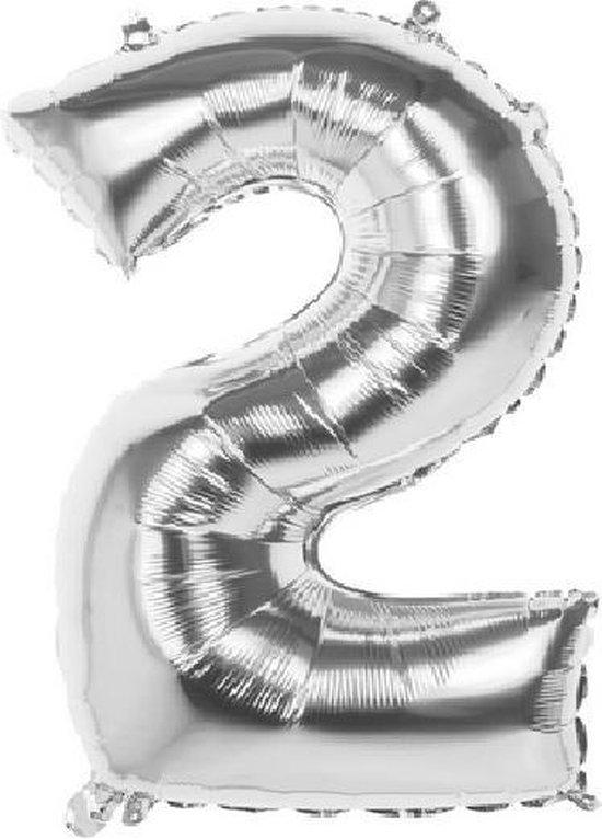 2 Jaar Folie Ballonnen Zilver - Happy Birthday - Foil Balloon - Versiering - Verjaardag - Jongens - Meisjes - Feest - Inclusief Opblaas Stokje & Clip - XL - 82 cm