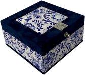The Dutch Tea Box Delftsblauw Batik Theedoos met Thee Cadeau - 4 vaks - Blauw