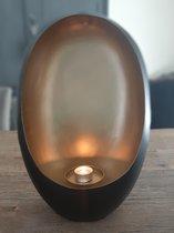 Alinterieur - Standing Egg - Incl theelichthouder - zwartGoud - Smal - 21x15x9