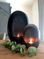 Alinterieur - Standing Egg - Incl theelichthouder - Zwart - Smal - 21x15x9