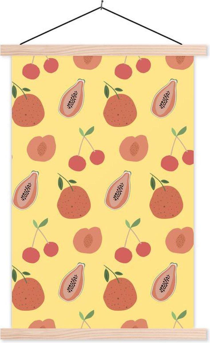 Abstract rood fruit met een gele achtergrond textielposter latten blank