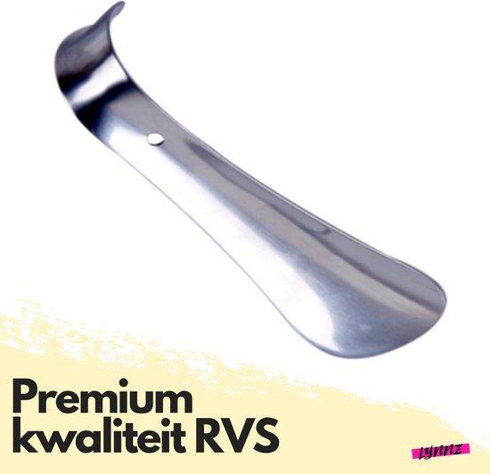 Lynnz® schoenlepel premium kwaliteit metaal RVS 15 cm - stevig - schoentrekker - schoen lepel - klein - schoenlepels - heren - dames