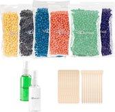 Qumax wax beans navulling set - Wax ontharen -  6x100gr bonen , Before & After spray, 2x10 spatels - Wax bonen universeel