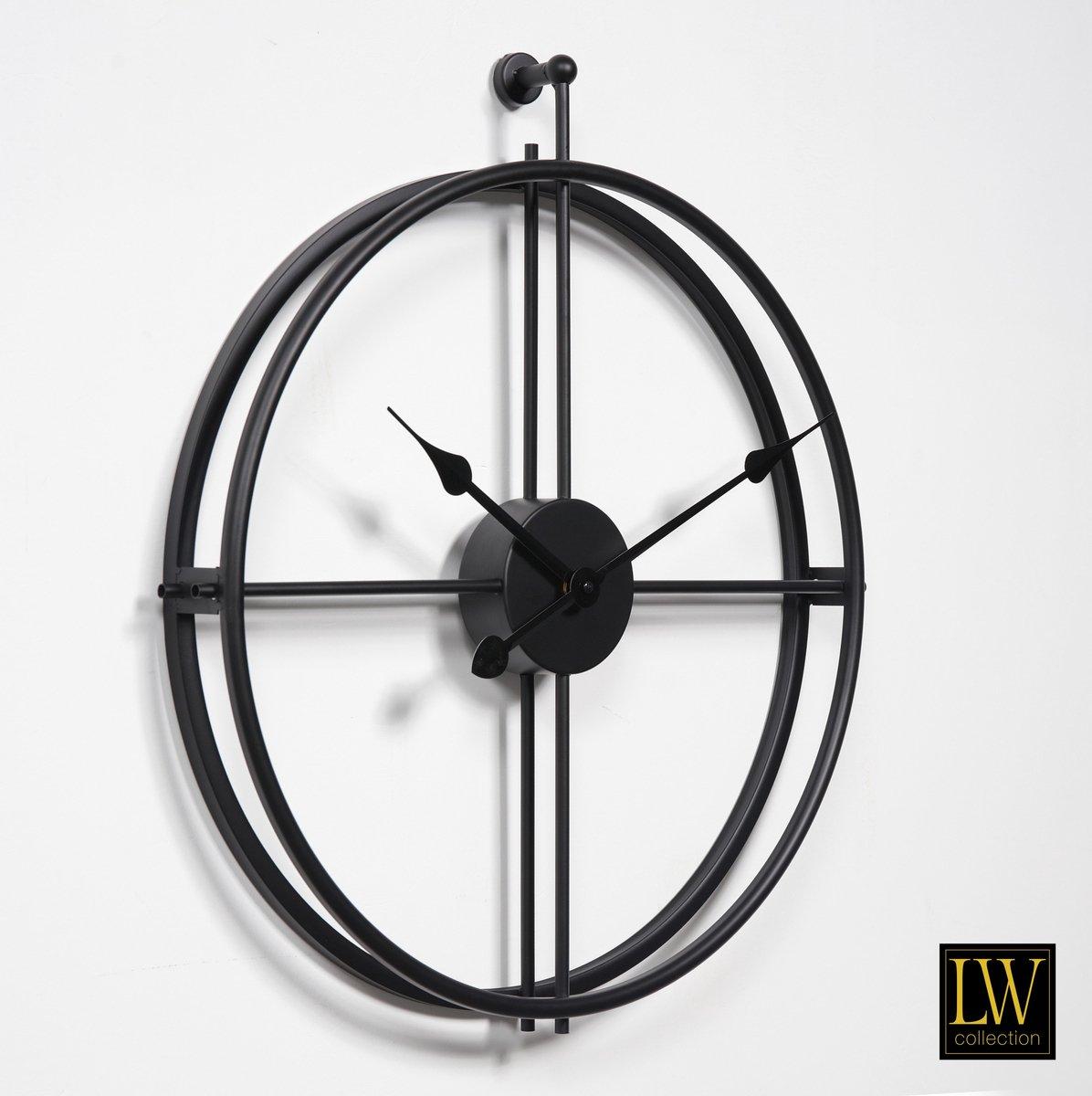 LW Collection Moderne Zwarte Klok / Muurklok Zwart / Wandklok Zwart Metaal zonder cijfers of letters