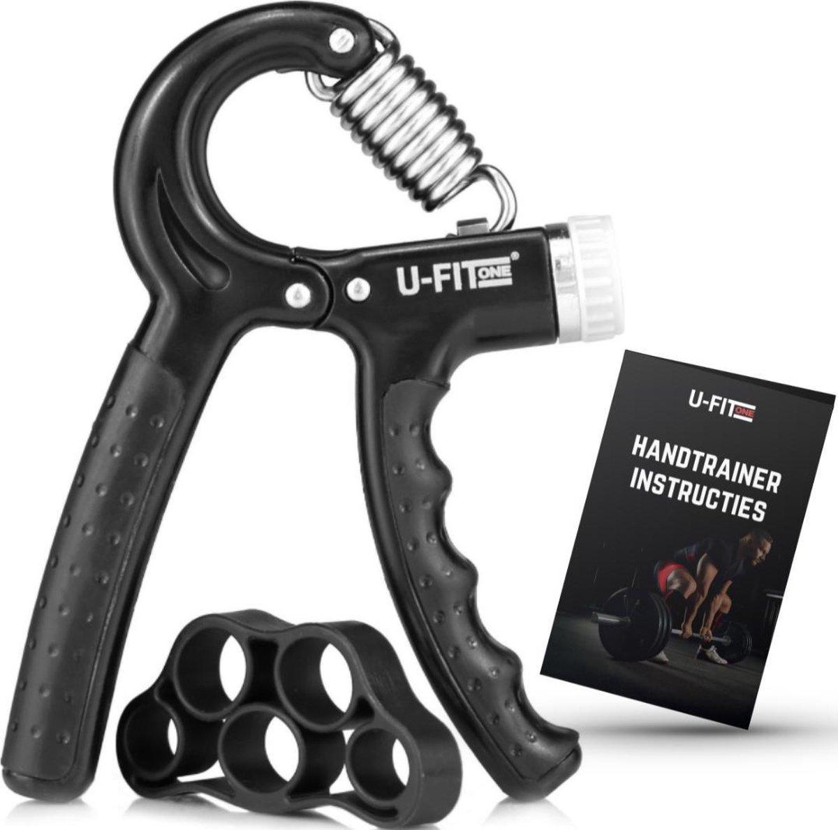 U Fit One  Zwart Handtrainer 10 to 60kg met Vingertrainer & Instructies - Handknijper- Knijphalter -