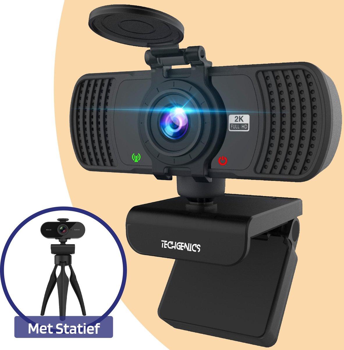 Webcam voor PC en Laptop met Microfoon en USB - Webcams - Gaming en Streaming Webcam - 2K Ultra HD - Mat Zwart