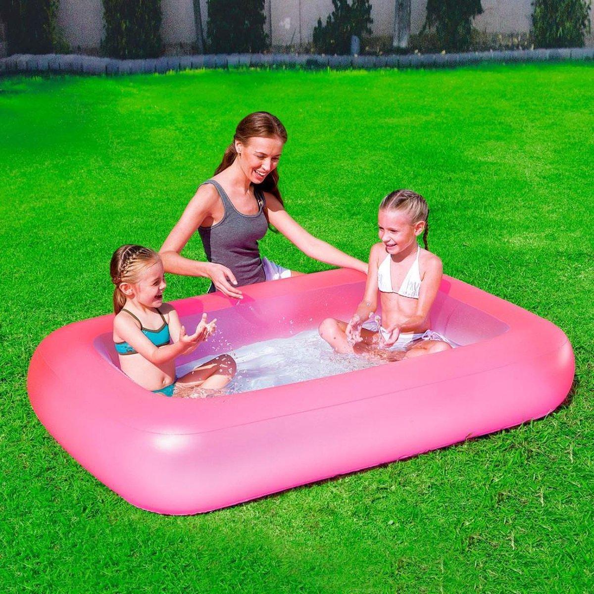 Opblaasbaar Kinder Zwembad Rechthoekig van Bestway - Peuter - Kinder - Baby - Zwembad - Kinderzwembad - Zwembadje - Speelzwembad - Buitenzwembad - Opblaas Zwembad - Roze - Rechthoek - 165 cm x 25 cm -102 Liter