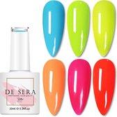 De Sera Gellak 6-delige Set - Gel Naggellak - Neon Edition - Gellac - 10ML - Kleurrijke Kleuren