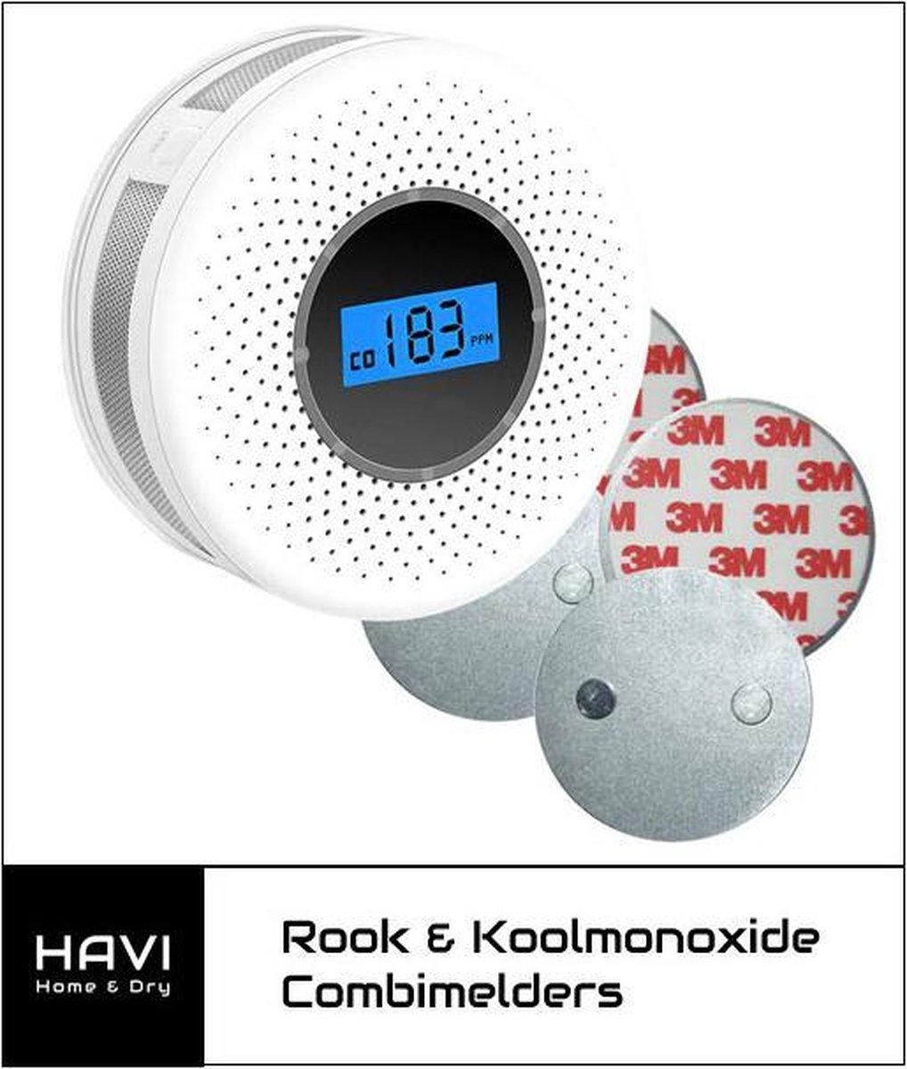 HAVI Home & Dry - Zelfklevende Rook- en koolmonoxide melder - Nieuwste generatie - 85db alarm - Incl