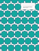 Wide Ruled Composition Notebook 100 Sheets 200 Pages: Turquoise Quatrefoil Pattern