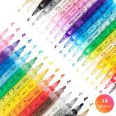 Afbeelding van Stiften - Verfstiften - Acrylverf - Acryl stiften - Happy Stones - 35 stuks - 20 Kleuren - 2 maten