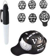 Firsttee - Balmarker - 6 in 1 - LETTERS & FIGUREN - Golf marker - Golfbal marker - Golf markers - Golfbal stempel - Markeringsset - Line marker - Golf accessoires - Golftrainingsmateriaal - Golf training - Golf sport - Cadeau - Bal