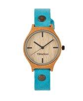 Dames horloge bamboe hout I Twist single aqua blauw leren band I TiMEBOO ®