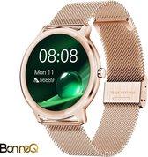 BonneQ - Luxe dames Smartwatch - Stappenteller - Stappenteller horloge dames - Hartslagmeter - Calorieënverbruik - Sportfuncties - Ontvang inkomende berichten (social media) – Bellen - Slaaptracker – Rosé goud