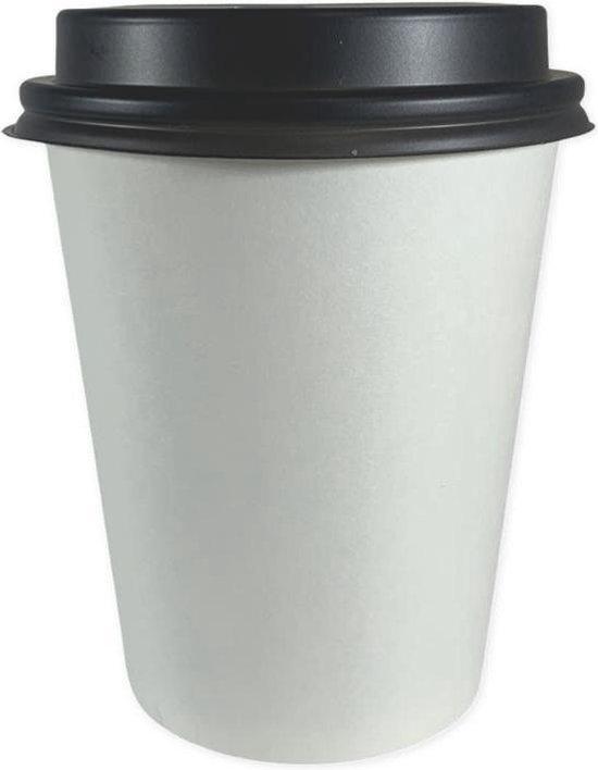 BIO koffiebeker Met BIO Zwart Deksel, Karton/PLA Duurzame Paper Cup, 8oz, Doos à 100 stuks