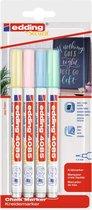 Krijtstift edding 4085 - 4 pastel kleuren krijtmarkers - ronde punt, 1-2 mm