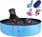Splashbuddy hondenzwembad 160 X 30 CM - GRATIS XL KONG honden knuffel -  Honden speelgoed - Hondenbad - Dog pool - Kinderzwembad - Zwembaden - Blauw