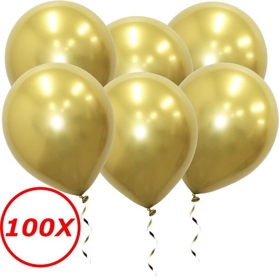 Luxe Chrome Ballonnen Goud 100 Stuks - Helium Ballonnenset Metallic Gold Feestje Verjaardag Party