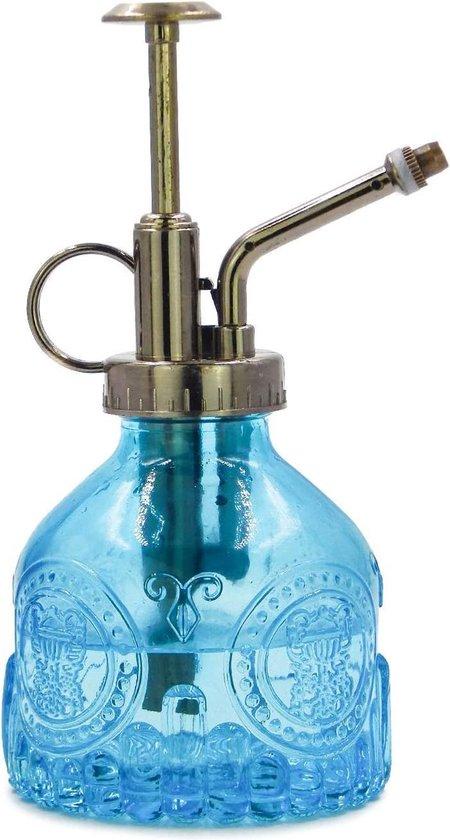 Luxe Plantenspuit van glas - Plantensproeier - Retro - Vintage - Gieter - Blauw