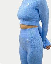 VANO WEAR sportoutfit / sportkleding set voor dames / fitnessoutfit legging + sport top (lichtblauw)
