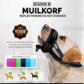 Oersterke muilkorf - zwart - maat XL - ideaal voor grote honden - tegen bijten, happen, slopen en poep eten - machine wasbaar - comfortabele fleece afwerking - reflecterend in het donker