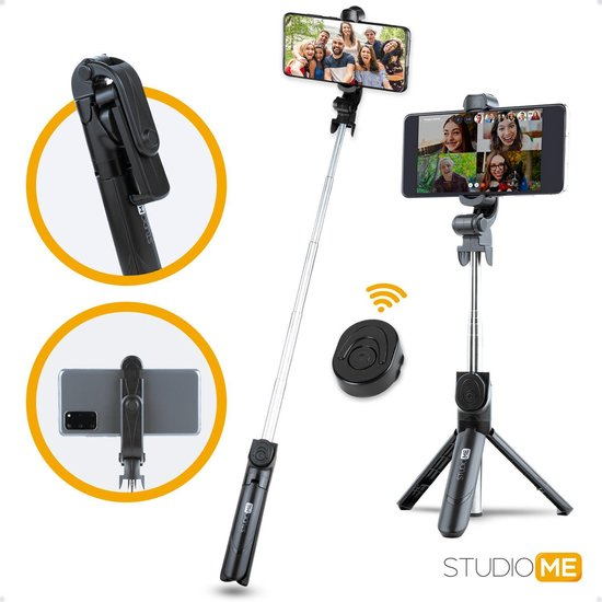 Studio ME® 3 in 1 Selfie Stick Tripod - Selfiestick Universeel voor je beste Foto en Video - Bluetooth afstandsbediening voor Apple iphone, Samsung Galaxy of android smartphone