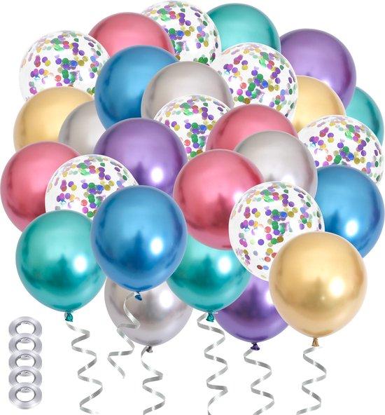 50x Chrome Metallic Papieren Confetti Helium Feest Ballonnen Set - Verjaardag Versiering - Sweet 16 - Ballonnenboog Maken - Latex