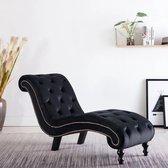 vidaXL Chaise longue fluweel zwart