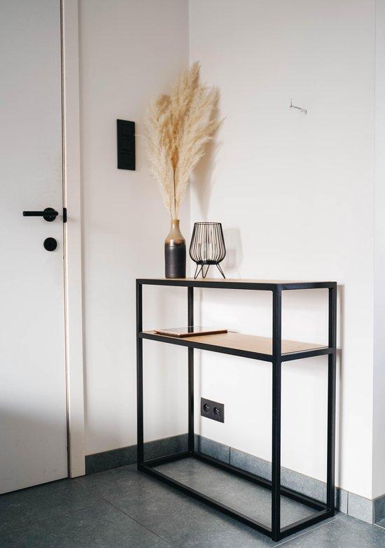 Bijzettafel / Sidetable - Industrieel - Zwart Metaal - Eik: Dainty Oak Pure - 790x290x800 - MY Own Table 001