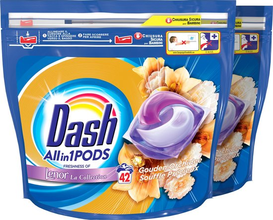 Dash All in 1 Wasmiddel Pods Gouden Orchidee - Voordeelverpakking - 2x42 Wasbeurten